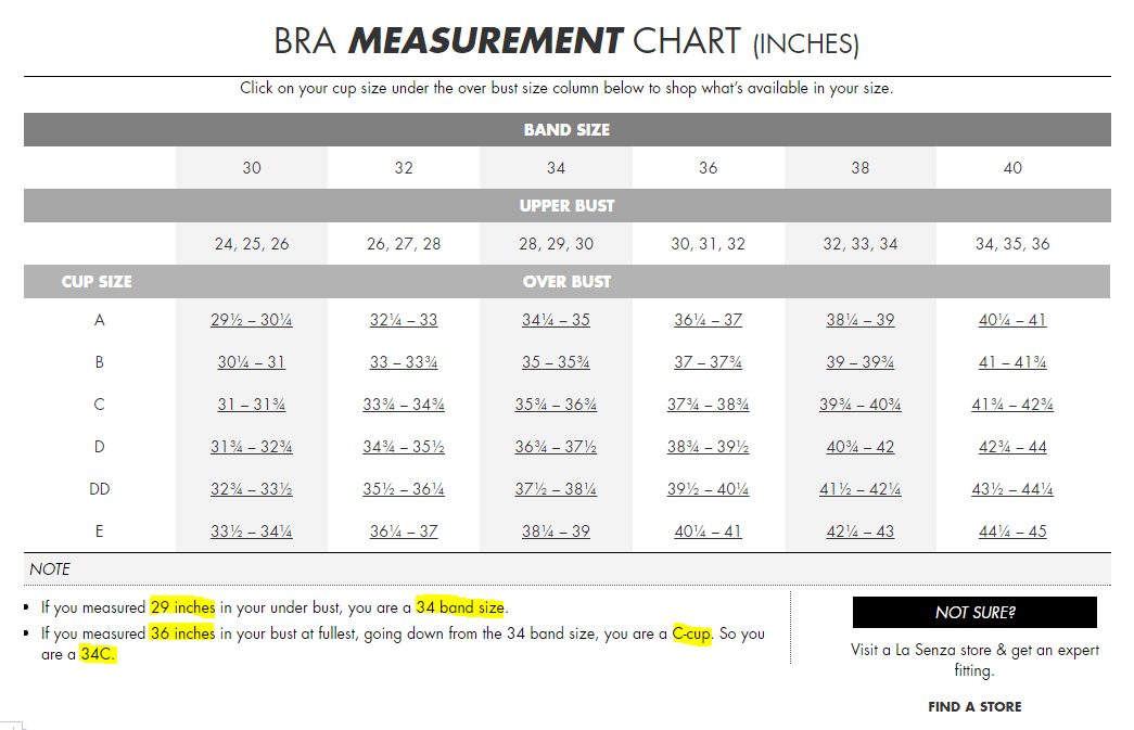La senza are so nice that they even did the math for me      according to their handy size chart again band sizes too big and cup also online bra calculators misleading terribly rh fibrobras wordpress