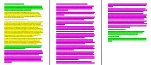 Das Bild zeigt den Ursprungstext von Frau X mit Farben markiert. Ca. 10 % grün (Frau X), Ca. 25% gelb (andere Webseiten), ca. 65% lila (FibroFess Text).
