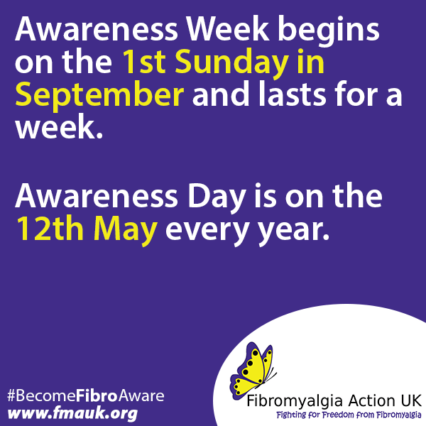 Fibromyalgia Awareness Poster - #BecomeFibroAware Fibromyalgia Action UK with link to site.
