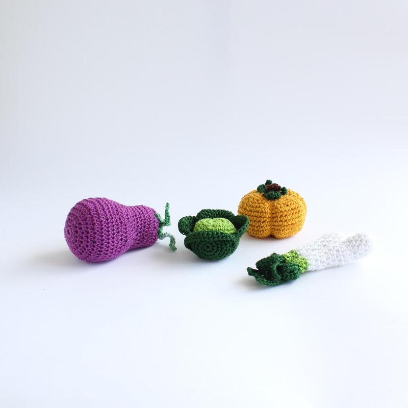 Frutas e legumes em crochet