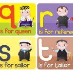 abecedario en ingles letras q, r. s, t
