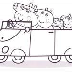dibujo para colorear de la familia pig en coche