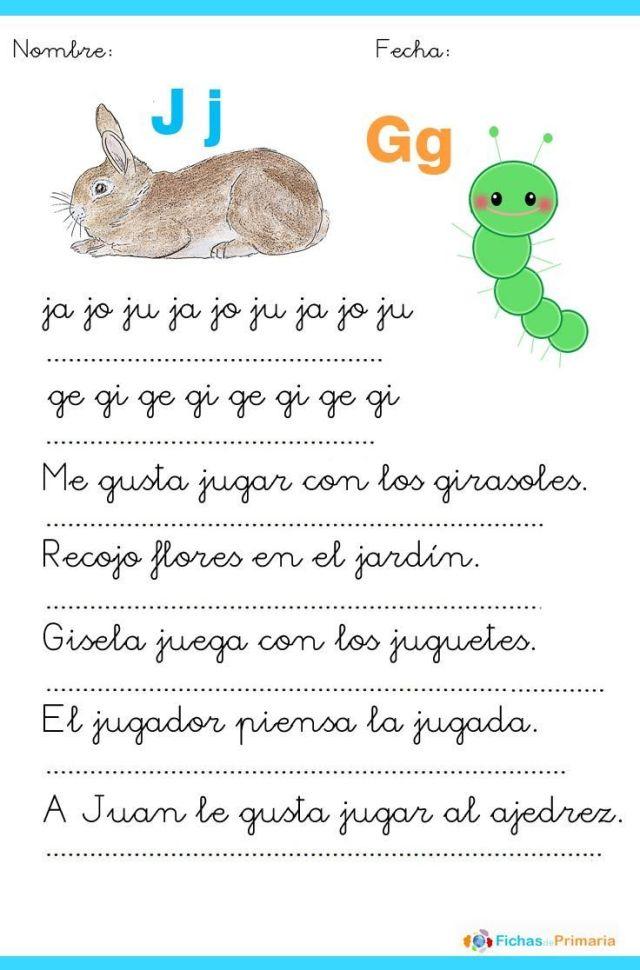 fichas de lectura para niños letra j y g