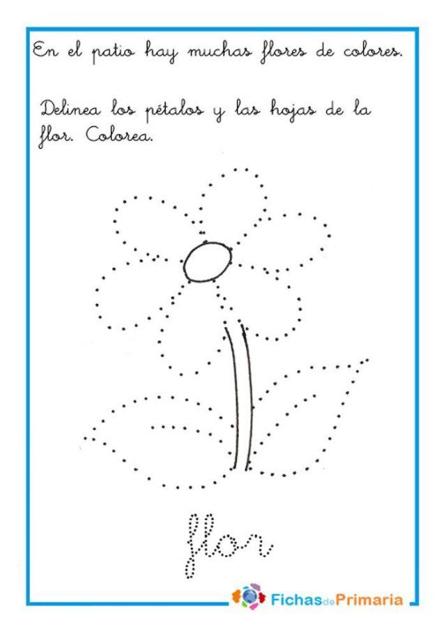 trazos para preescolar flor