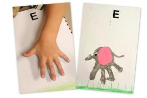 dibujo elefante con pintura de manos