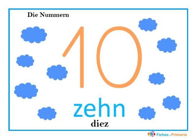 fichas de los números en alemán: zehn