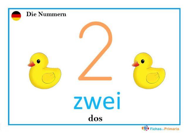 Fichas de los números en alemán zwai
