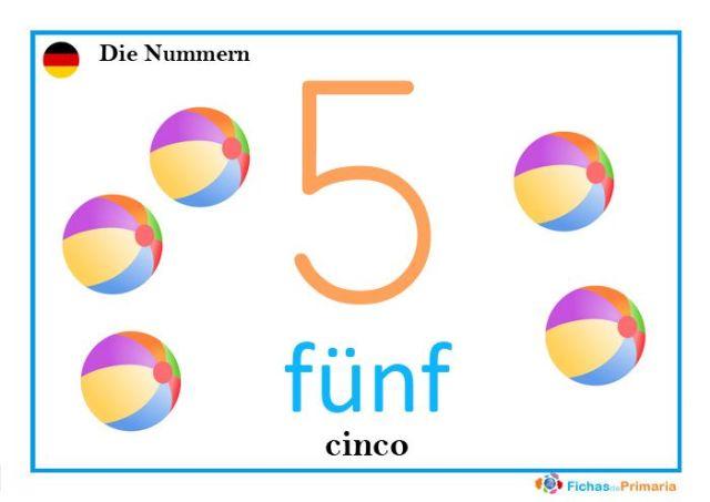 el número cinco en alemán: fünf