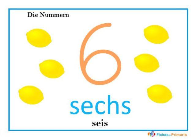 el número seis en alemán sechs