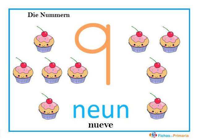 fichas de los números en alemán: neun