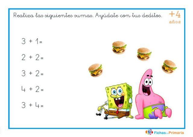sumas fáciles para niños de 4 años