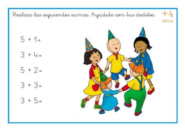 sumas preescolar de dos cifras