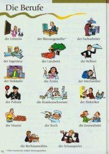 vocabulario oficios en alemán para niños
