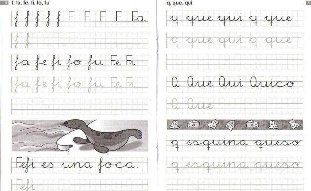 Caligrafía en cuadrícula letras f-q