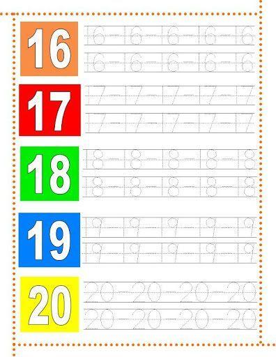 Caligrafía números del 16 al 20