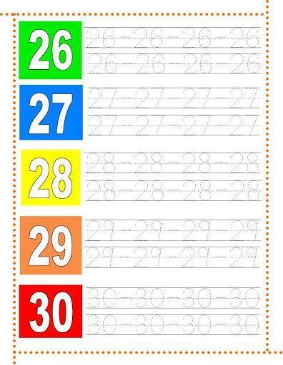 Caligrafía números del 26 al 30
