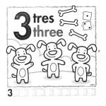 el número 3 en inglés para infantil