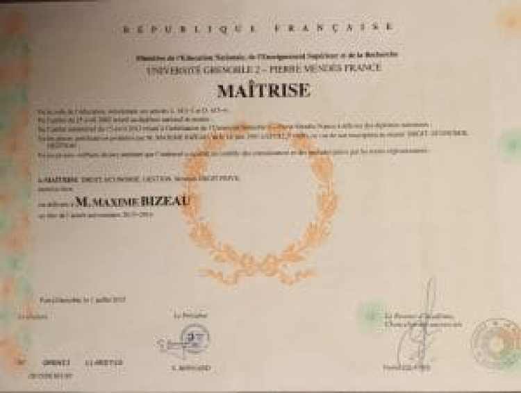 Diplôme Master 1 Droit des affaires mention bien