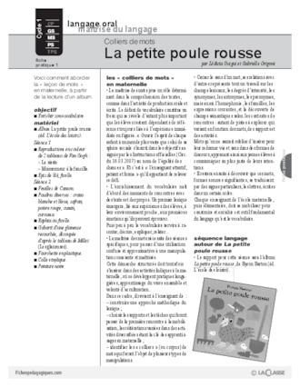 La Petite Poule Rousse Maternelle : petite, poule, rousse, maternelle, Colliers, Petite, Poule, Rousse, FichesPédagogiques.com