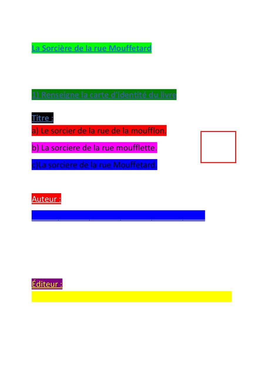 La Sorcière De La Rue Mouffetard Questionnaire : sorcière, mouffetard, questionnaire, Sorcière, Mouffetard, Deuxième, Series, Questions, Herisson, Fichier