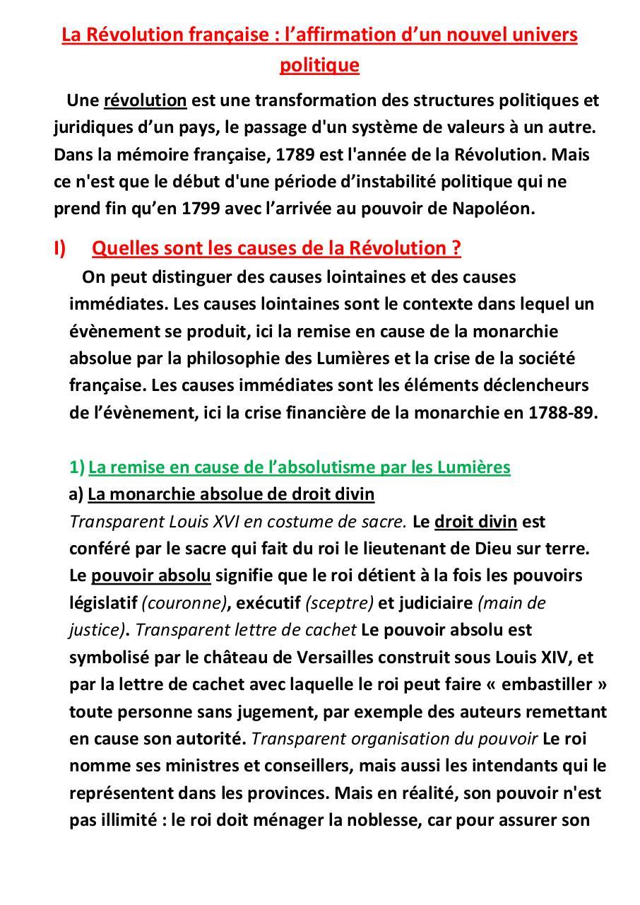 Révolution Française Causes Et Conséquences : révolution, française, causes, conséquences, Cours, Révolution, Française, Fichier