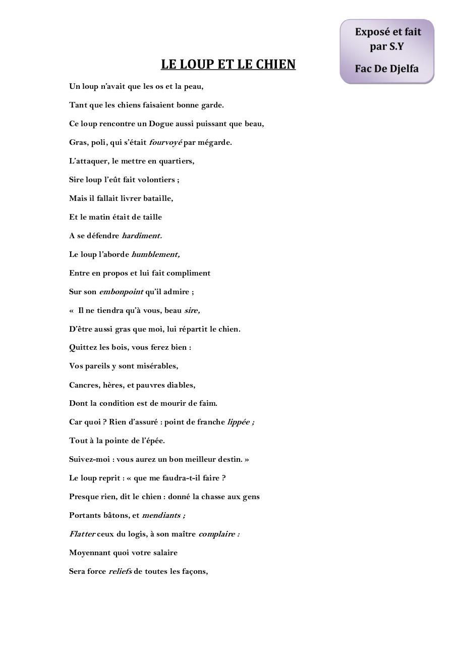 PDF  Le Loup et le Chien - Jean de l