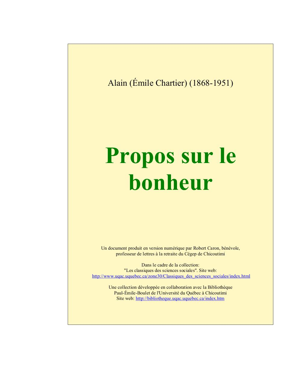 Propos Sur Le Bonheur Alain Pdf : propos, bonheur, alain, Alain, Propos, Bonheur, Jean-Marie, Tremblay, Fichier
