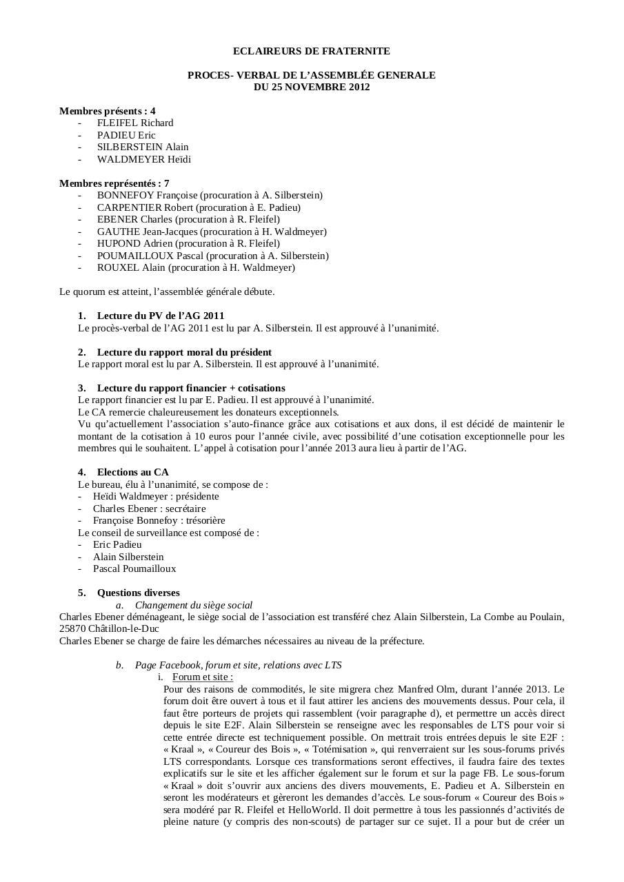 Proces Verbal Association Changement Bureau Assemblee Generale