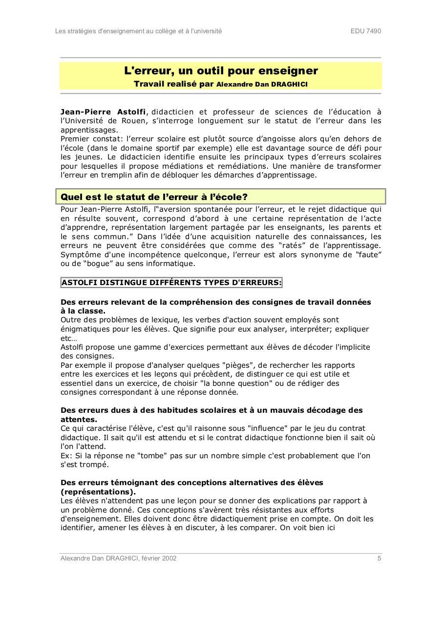 L'erreur Un Outil Pour Enseigner : l'erreur, outil, enseigner, Mémoire, Monique, Dugal, Fichier