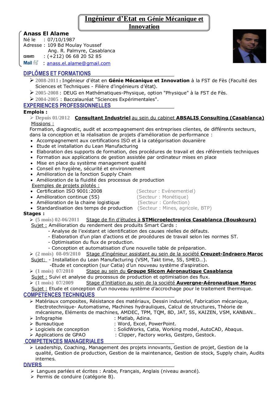C V Anass El Alame Par Anass Fichier PDF