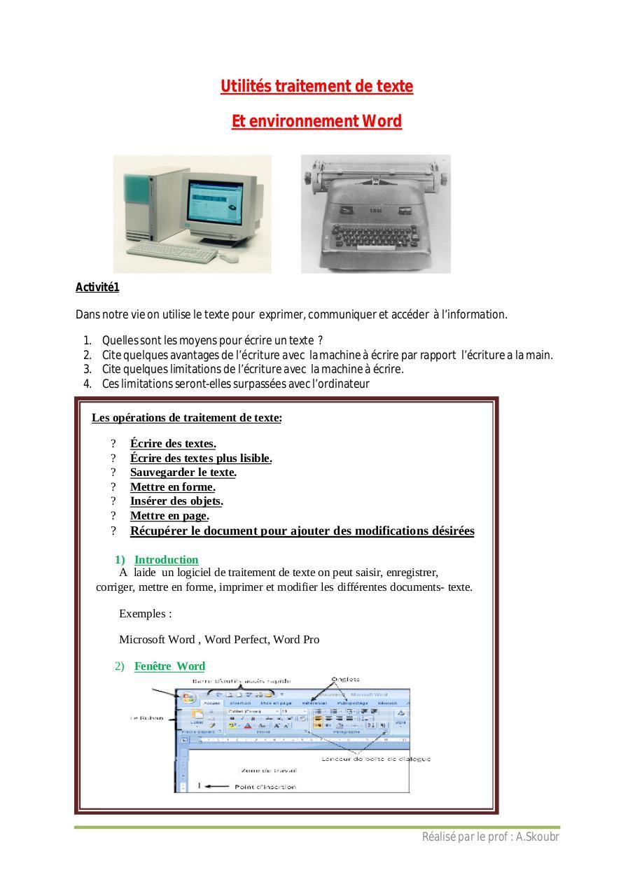 Traitement De Texte Pdf : traitement, texte, Cours, Traitement, Texte, Administrateur, Fichier