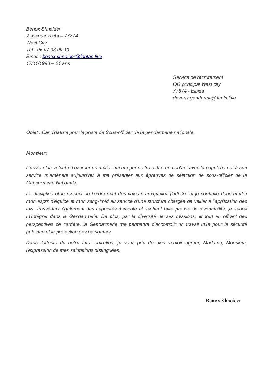Lettre De Motivation Gendarmerie Gav : lettre, motivation, gendarmerie, Lettre, Motivation, Gendarme, Fichier