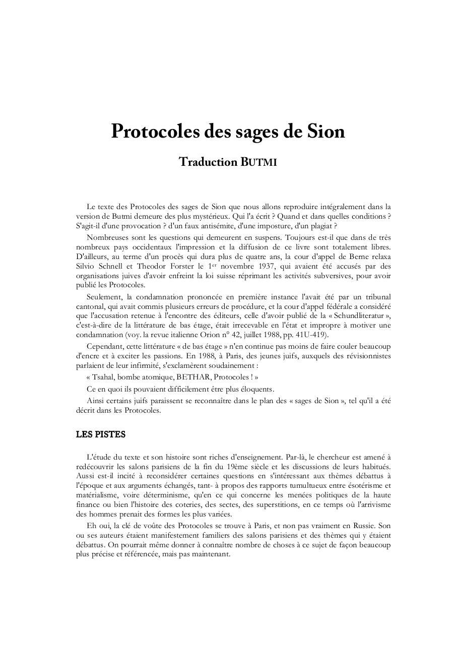 Protocole Des Sages De Sion Pdf : protocole, sages, Protocoles, Sages, Traduction, Butmi, Fichier
