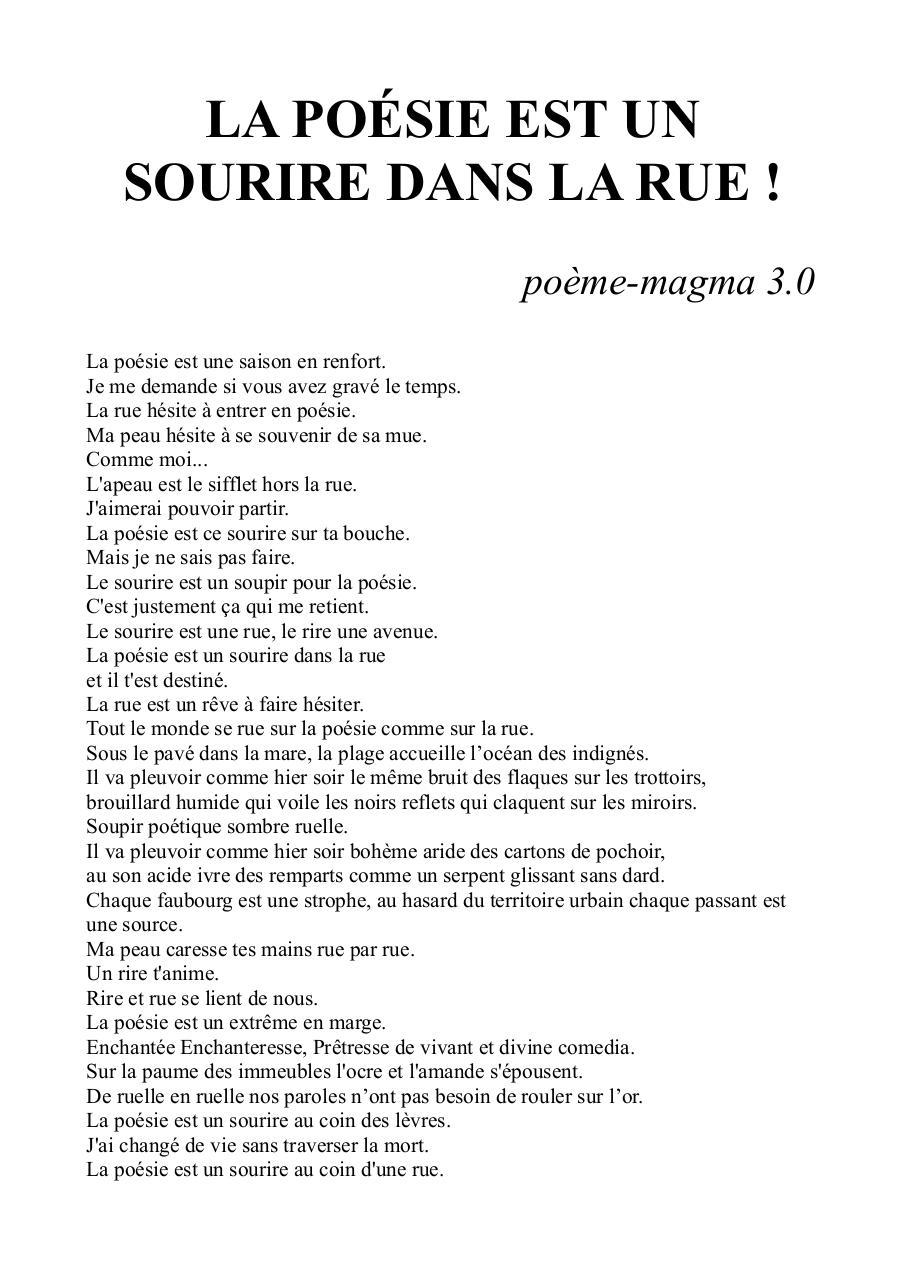 L Amour Est Dans La Rue Pdf : amour, Poésie, Sourire, Fichier