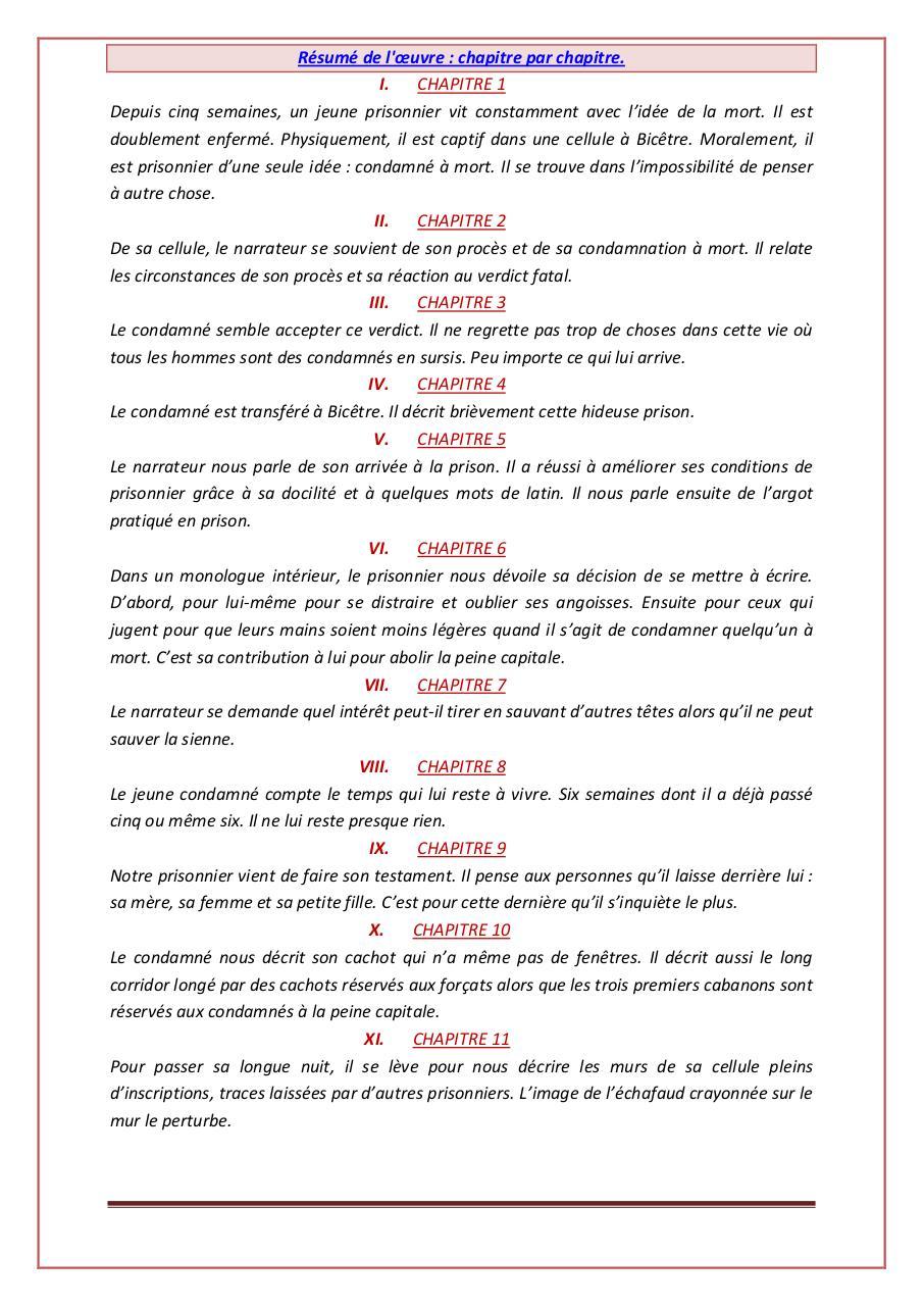Résumé Le Dernier Jour D'un Condamné : résumé, dernier, condamné, Résumé, Dernier, Condamné, 9alami.com, Fichier