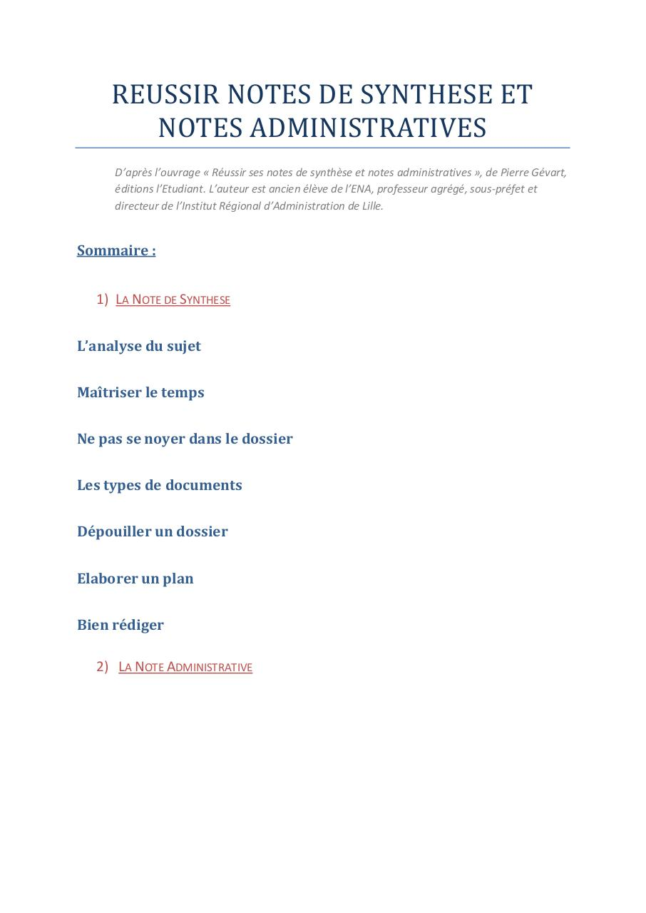 Faire Une Note De Synthèse : faire, synthèse, REUSSIR, NOTES, SYNTHESE, ADMINISTRATIVE, Fichier