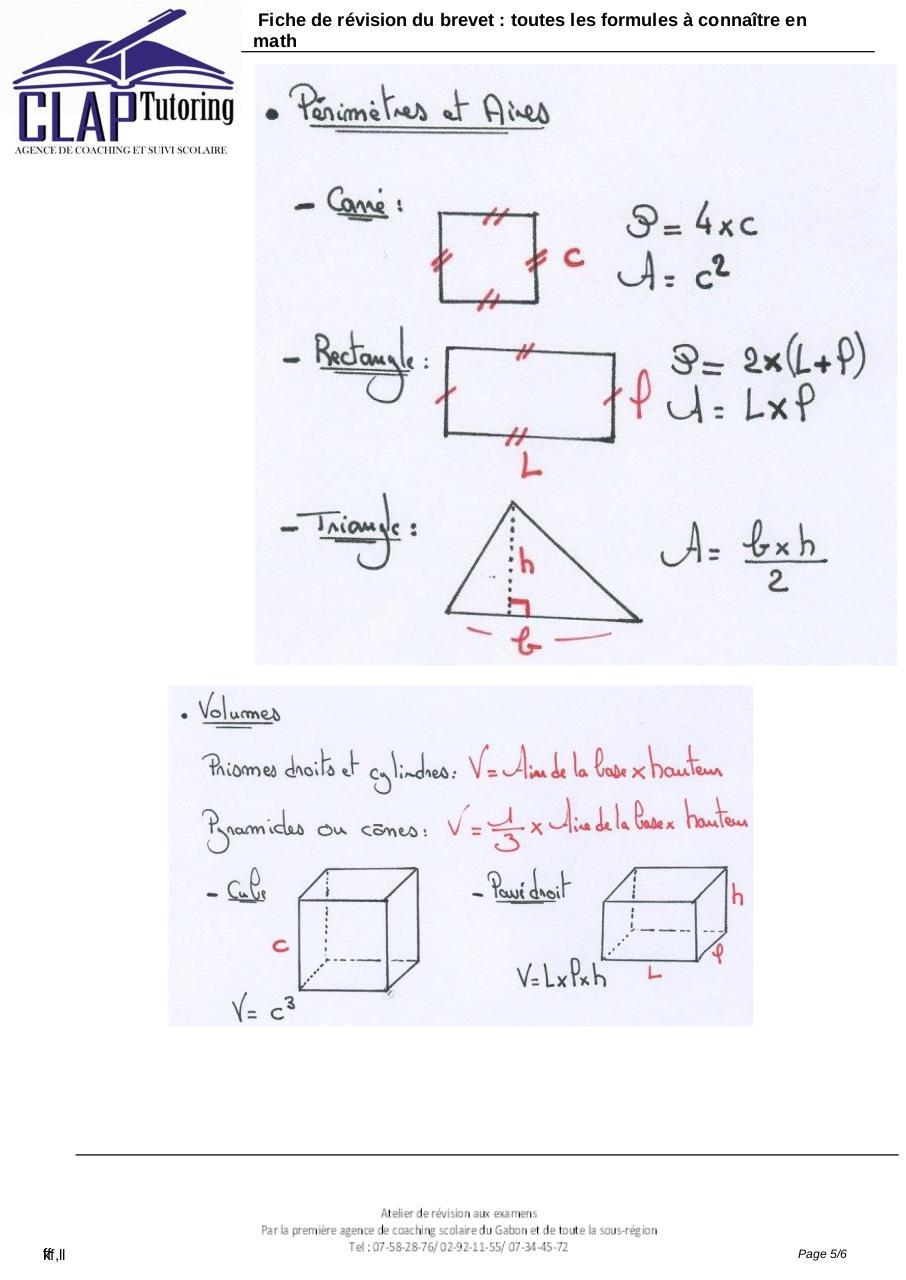 Fiche De Révision Brevet Maths Pdf : fiche, révision, brevet, maths, 3ème, Formule, Connaitre, Fresnel, Fichier