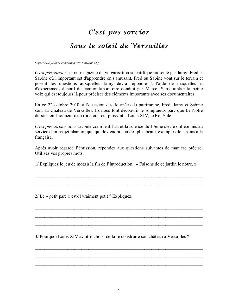 Louis Xiv C Est Pas Sorcier : louis, sorcier, Questionnaire, C'est, Sorcier, Soleil, Versailles, Carole, Figuet, Fichier