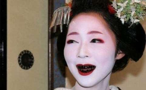 Japanese women used to dye their teeth black