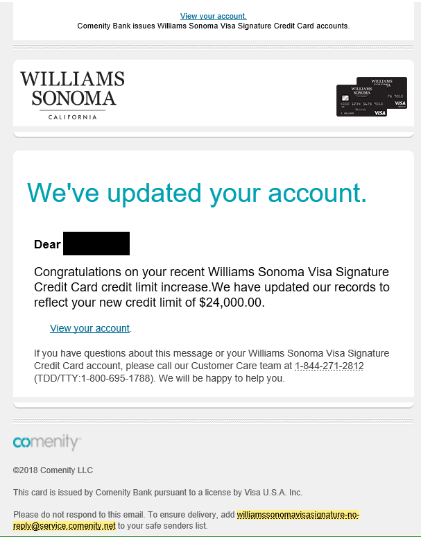 Comenity Bank William Sonoma : comenity, william, sonoma, William, Sonoma, Signature, Limit, 24k:), MyFICO®, Forums, 5312919