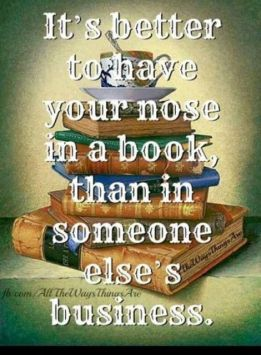 nose in a book