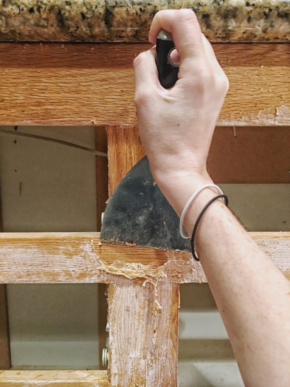how to remove glue from cabinets