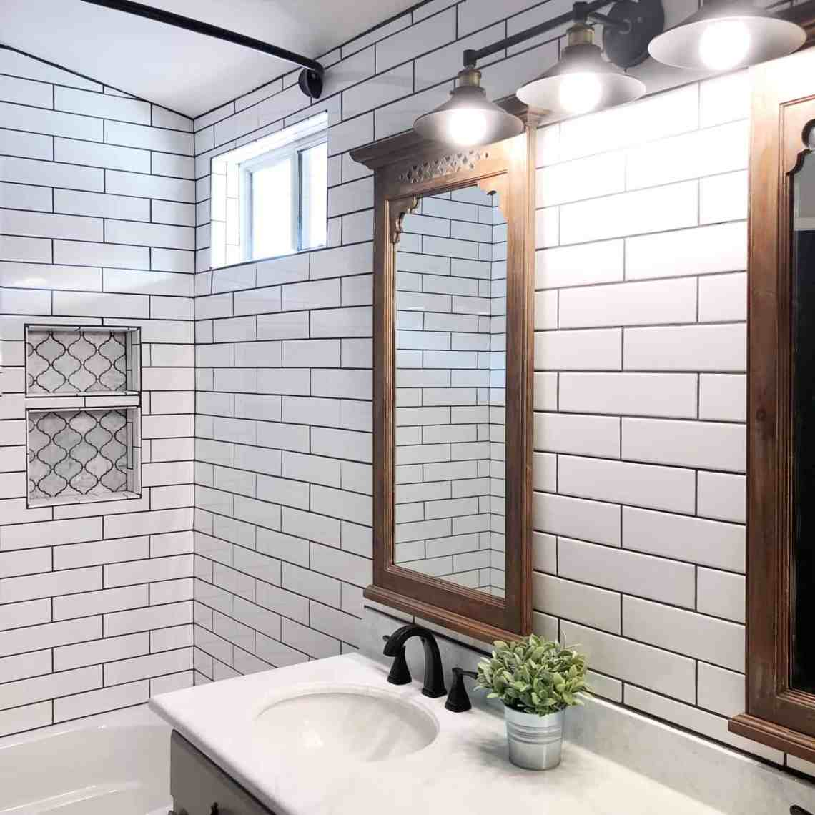 diy modern farmhouse bathroom subway tile