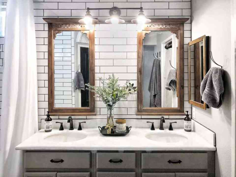 subway tile farmhouse bathroom