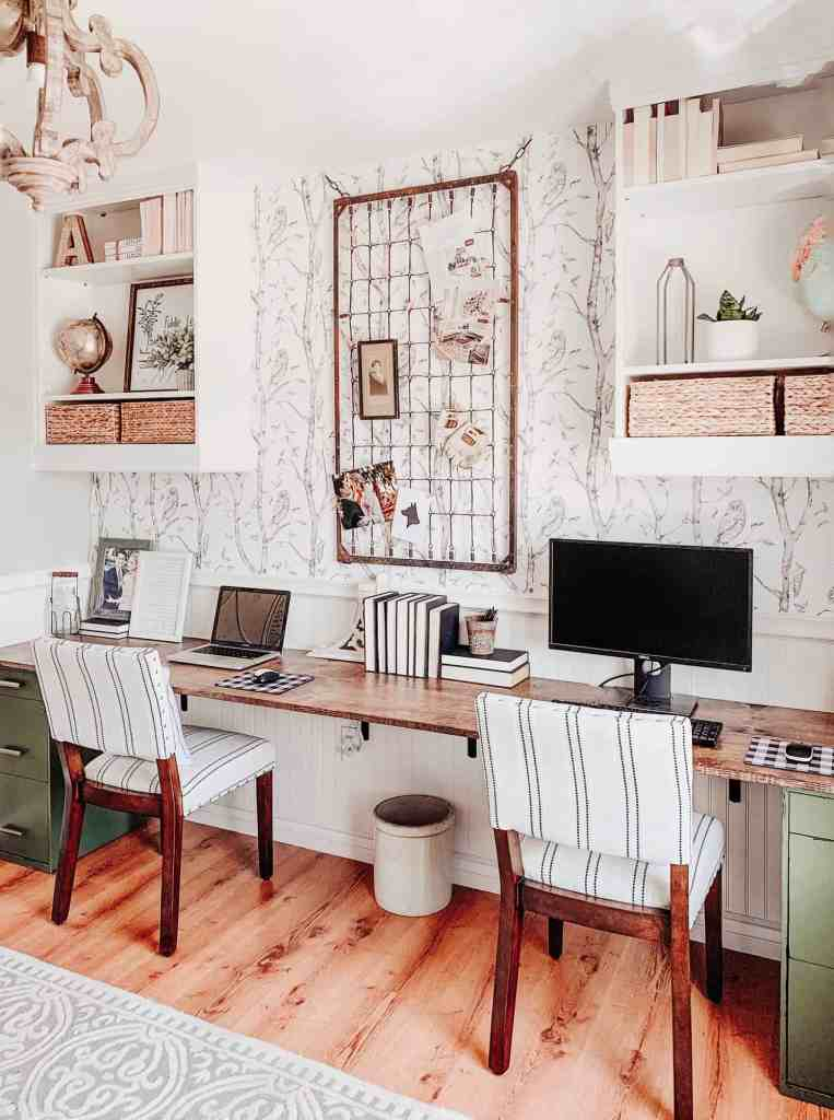 modern farmhouse office with beadboard chair rail, whimsical woods wallpaper, and diy desk