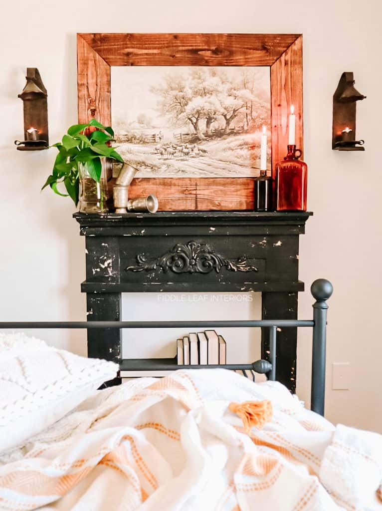 faux fireplace mantel in cozy cottage bedroom