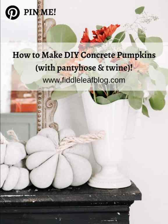 how to make DIY concrete pumpkins with pantyhose and twine