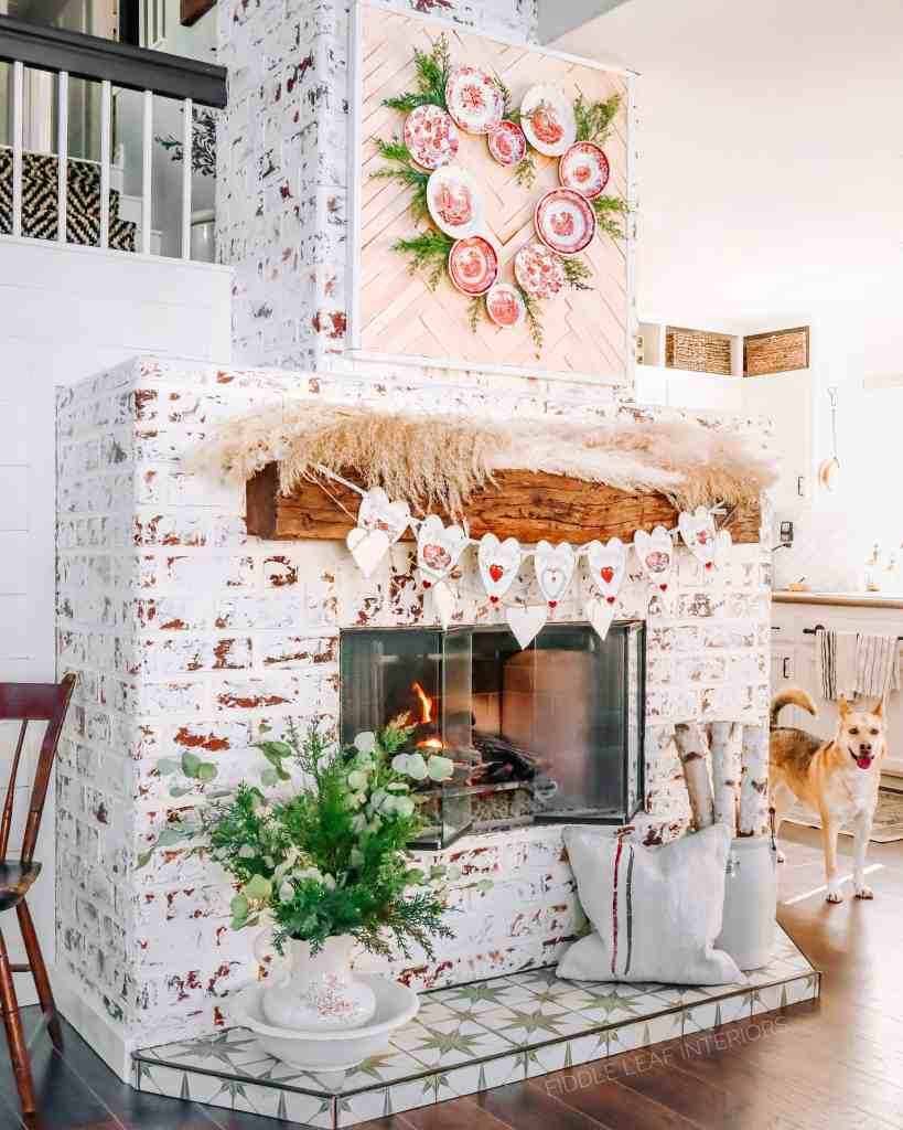 valentines day mantel decorations with vintage touches