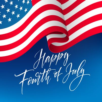 Fourth of July celebration banner, greeting card design. Happy independence day of United States of America hand lettering. USA freedom background. Vector illustration