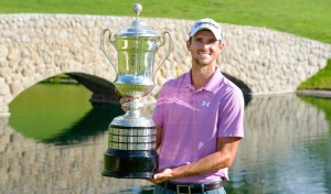 AGUASCALIENTES, MEXICO - MAY 17: Justin Hueber of the U.S lifts the trophy during the final round of the 57º Abierto Mexicano de Golf at Club Campestre Aguascalientes on May 17, 2015 in Aguascalientes, Mexico. (Photo by Enrique Berardi/PGA TOUR)
